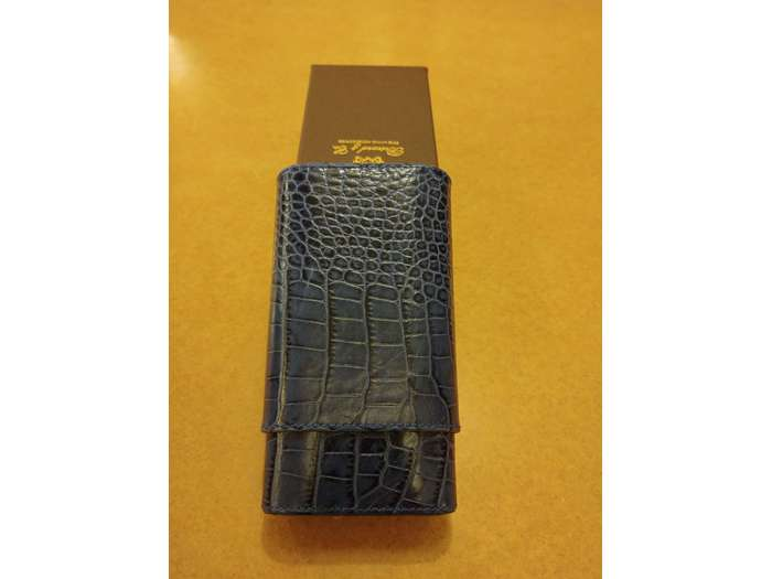 Brizard Showcase Gordo cigar case Croco Indigo