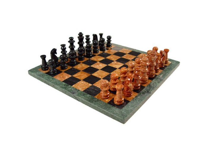 Black and Tan/Green and Tan Marble Chess set