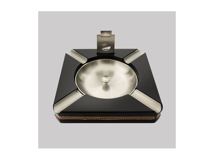 Square ashtray with cigar cutter Black