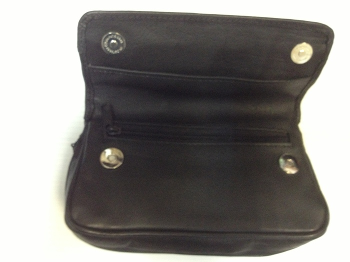 Black leather pipe and tobacco pouch