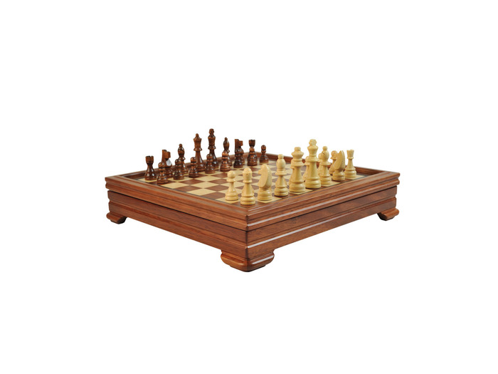 5 in 1 Rosewood/Maple chess game set