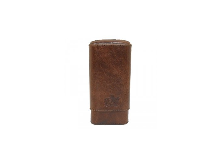 Brizard - 3 Cigar case Antique Sadle leather