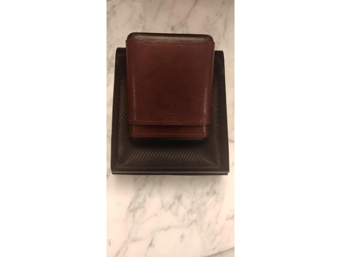 Wine and Black leather 5 cigar hard case