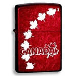 zippo canada maple leaves red background lighter