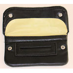 Black leather tobacco pouch with front snaps