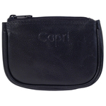 Capri black leather zippered pouch