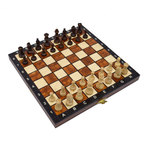 Magnetic Polished wood folding chess set