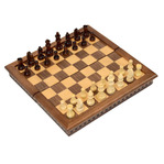 "18"" Rosewood Folding Magnetic Chess set"